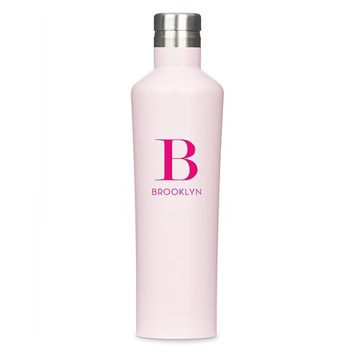 Personalized Initial Stainless Steel Water Bottle - Pink - Pretty Collected