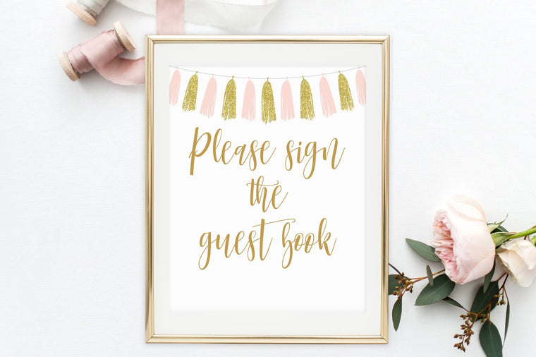 Please Sign the Guest Book Sign - Pink & Gold Tassel Printable - Pretty Collected
