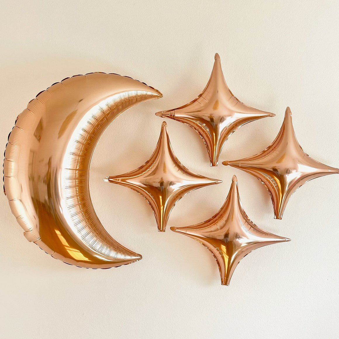 Rose Gold Moon & Star Balloons - Pretty Collected