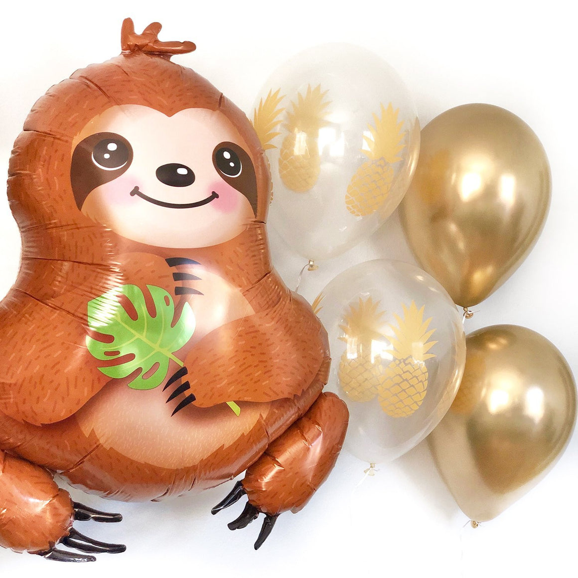 Baby Sloth and Golden Pineapple Balloon Set - Pretty Collected