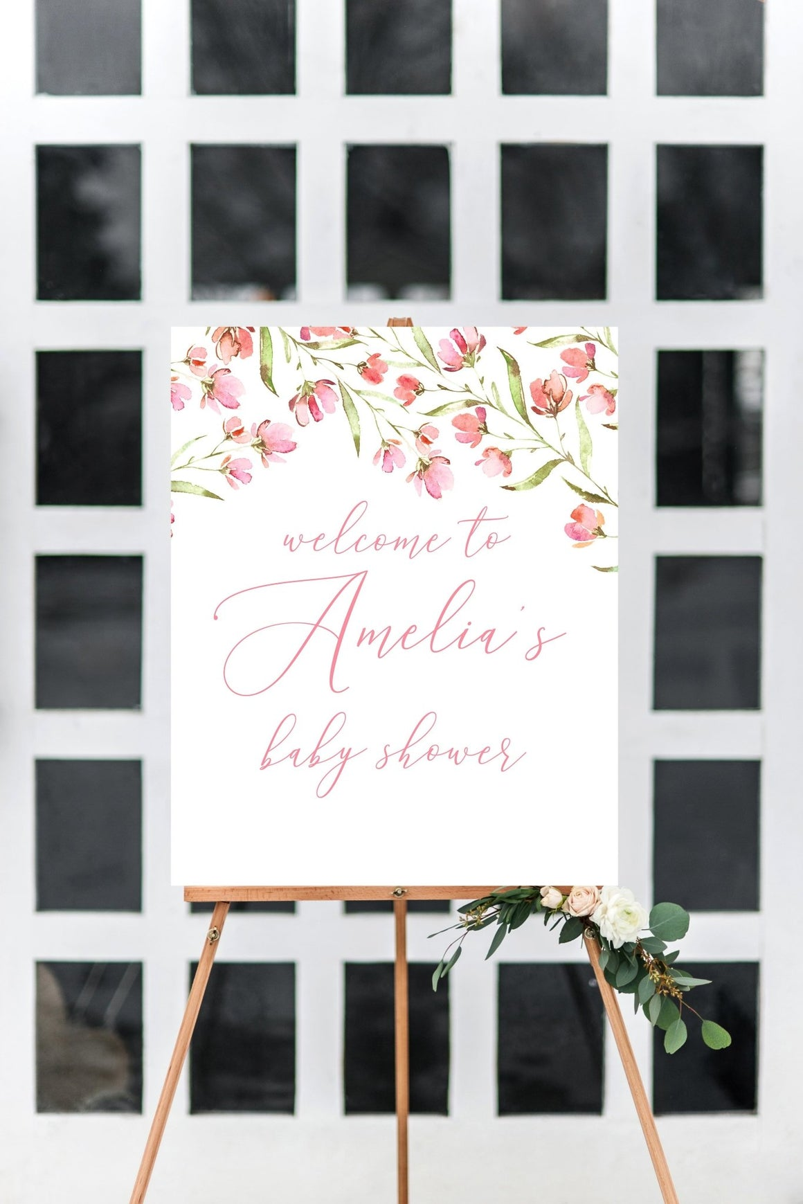 Baby Shower Welcome Sign - Spring Floral Printable - Pretty Collected