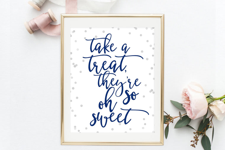 Take a Treat Sign - Navy & Grey Confetti Printable - Pretty Collected