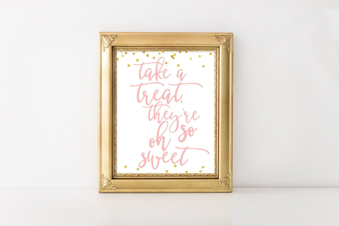 Take a Treat Sign - Pink & Gold Confetti Printable - Pretty Collected