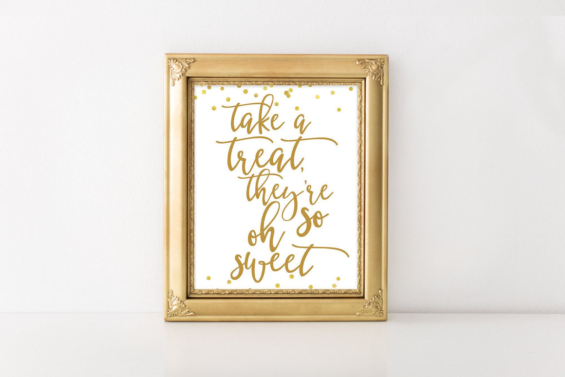 Take a Treat Sign - Gold Printable - Pretty Collected