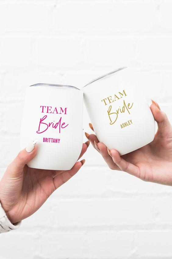 Personalized Team Bride Wine Tumbler - White - Pretty Collected