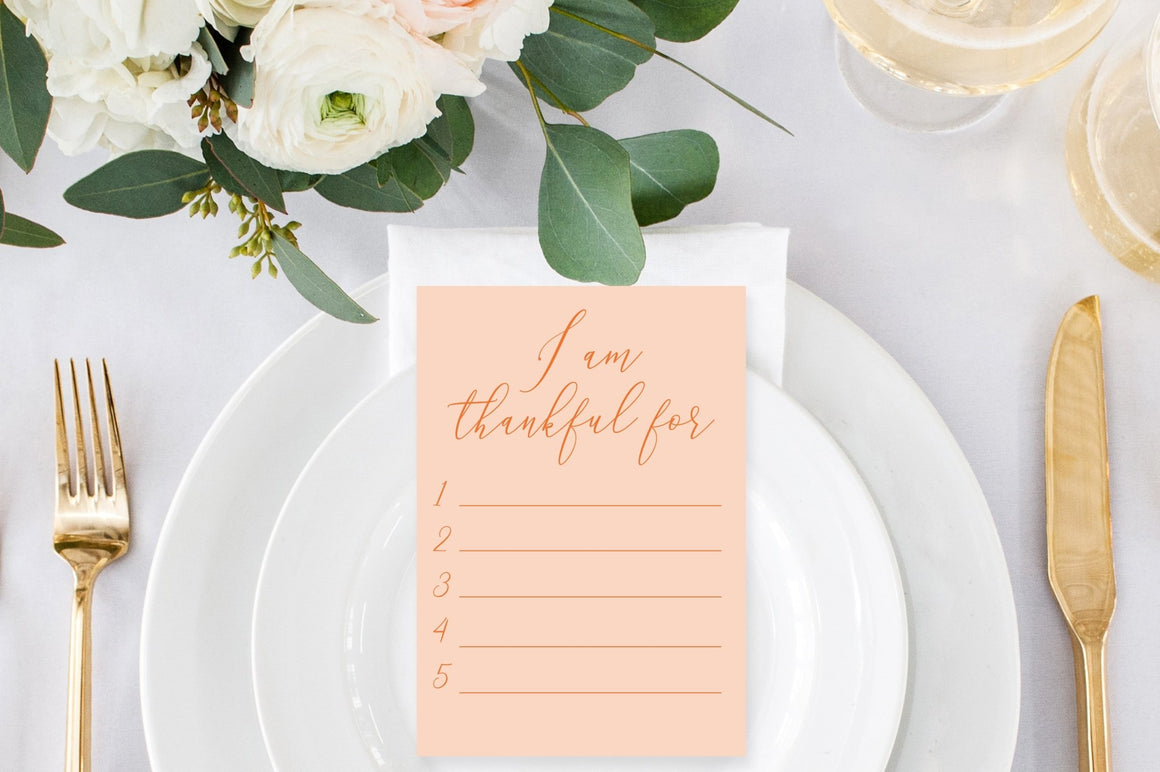 Thankful Card - FREE Thanksgiving Place Setting Printable - Pretty Collected