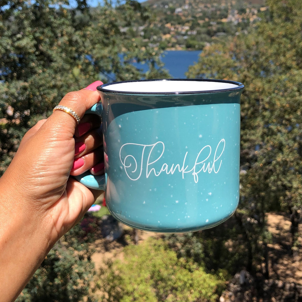 Grateful and Thankful Campfire Coffee Mug - Pretty Collected