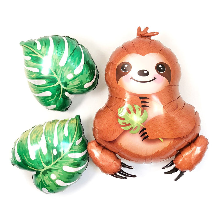 Sloth and Tropical Leaves Balloon Set - Pretty Collected