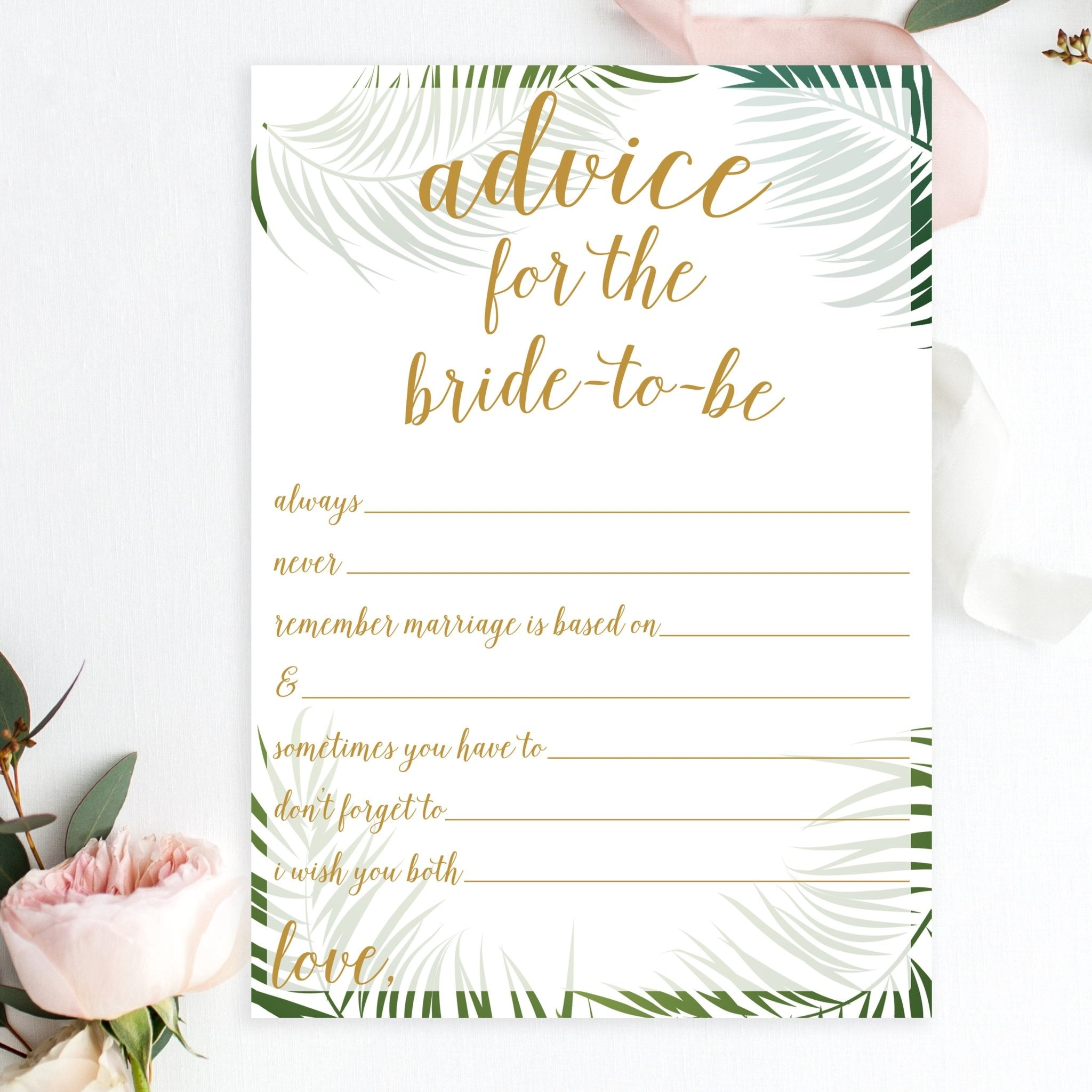Advice For The Bride To Be Statements Tropical Printable Pretty Collected