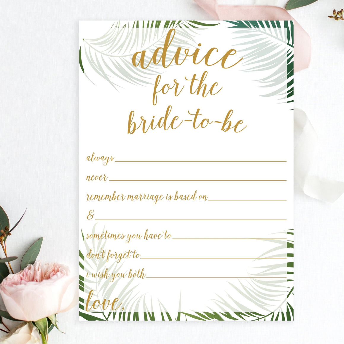 Advice for the Bride-To-Be (Statements) - Tropical Printable - Pretty Collected