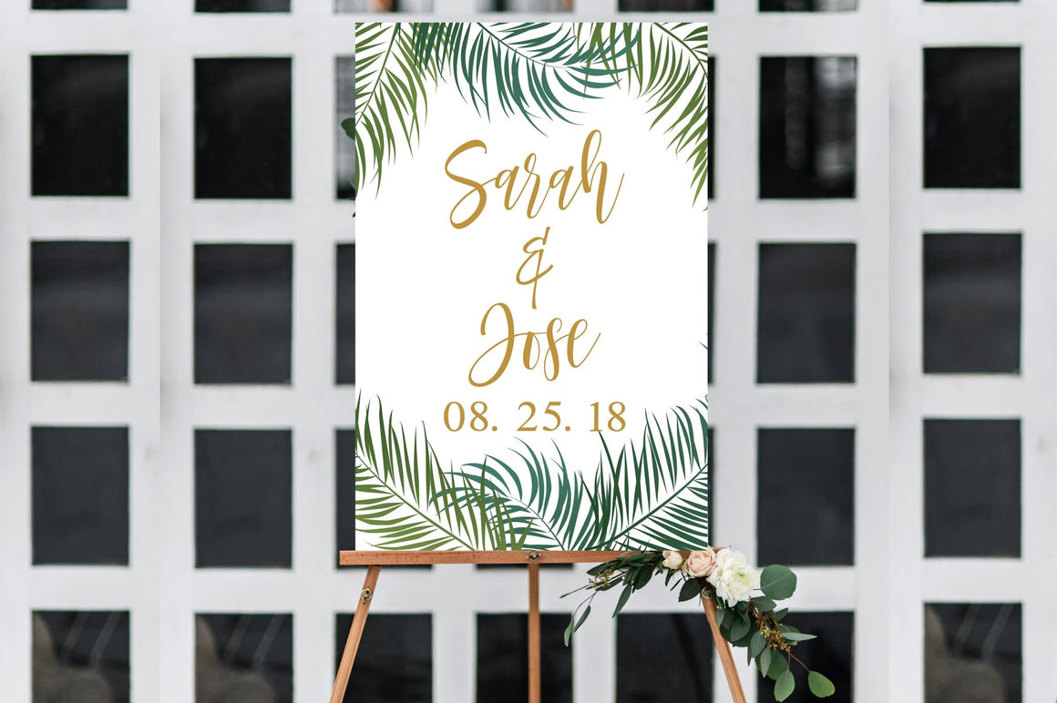Wedding Welcome Sign - Tropical Printable - Pretty Collected