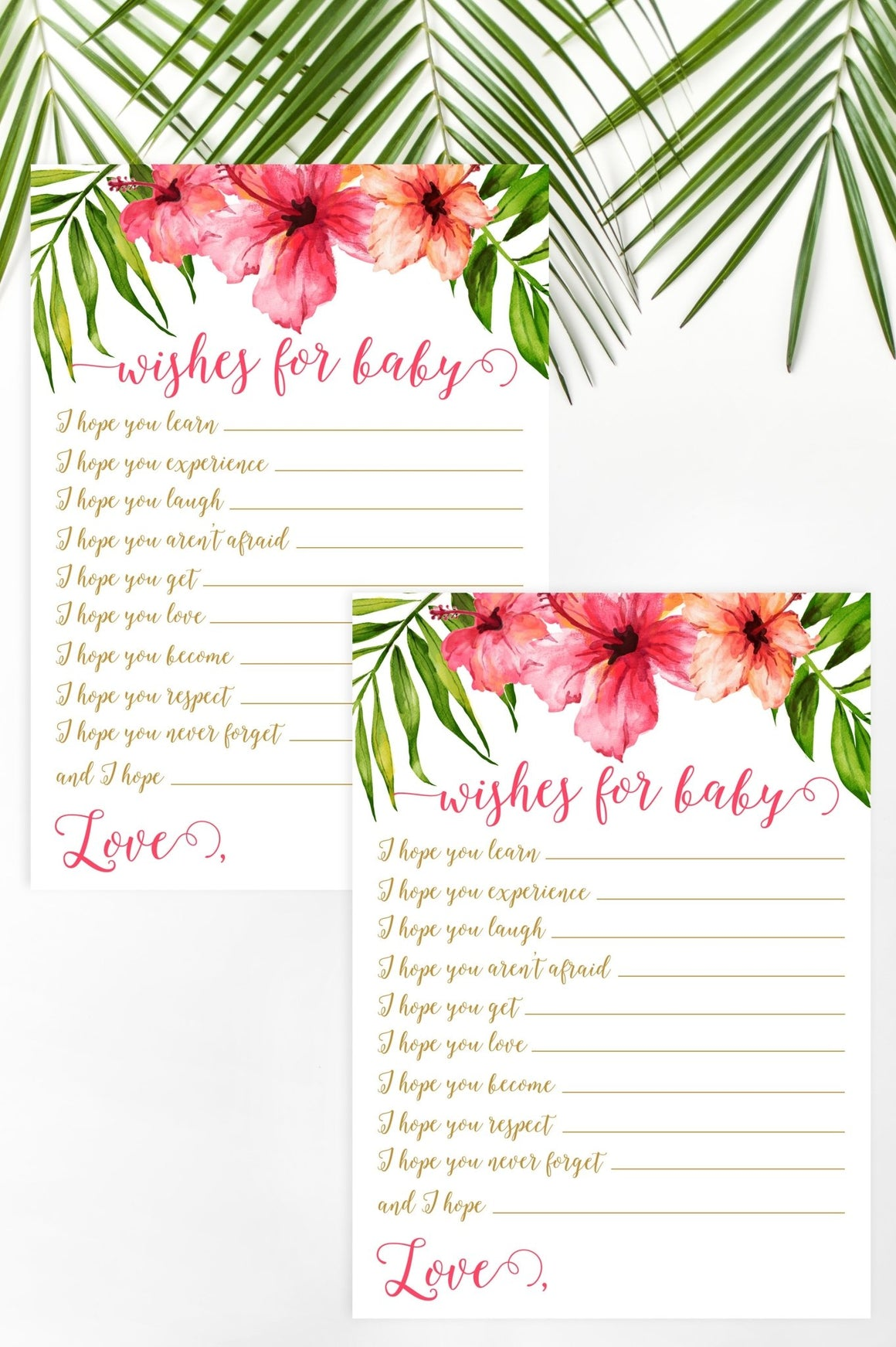 Wishes for Baby - Tropical Floral Printable - Pretty Collected