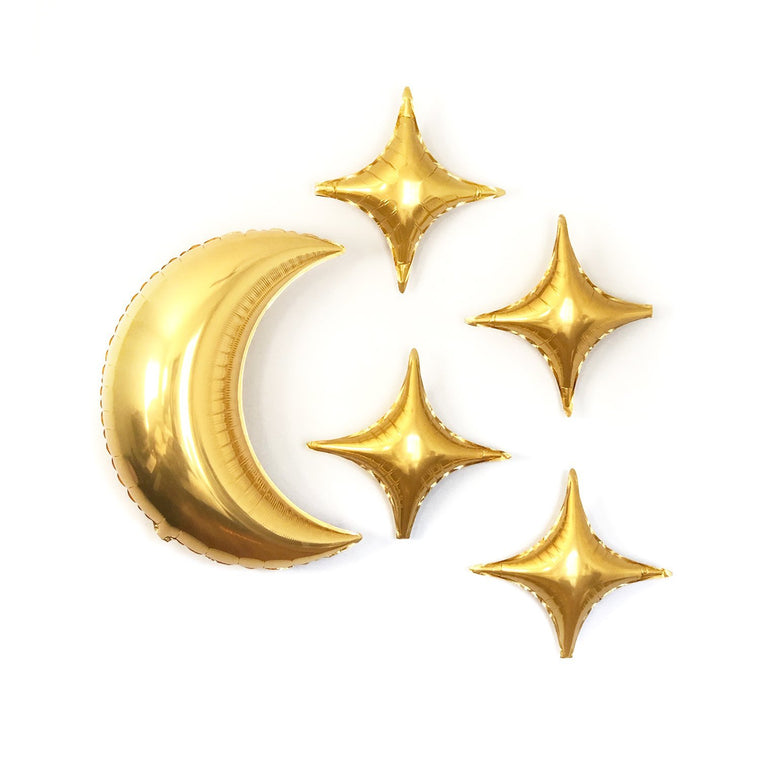 Gold Moon & Star Balloons - Pretty Collected