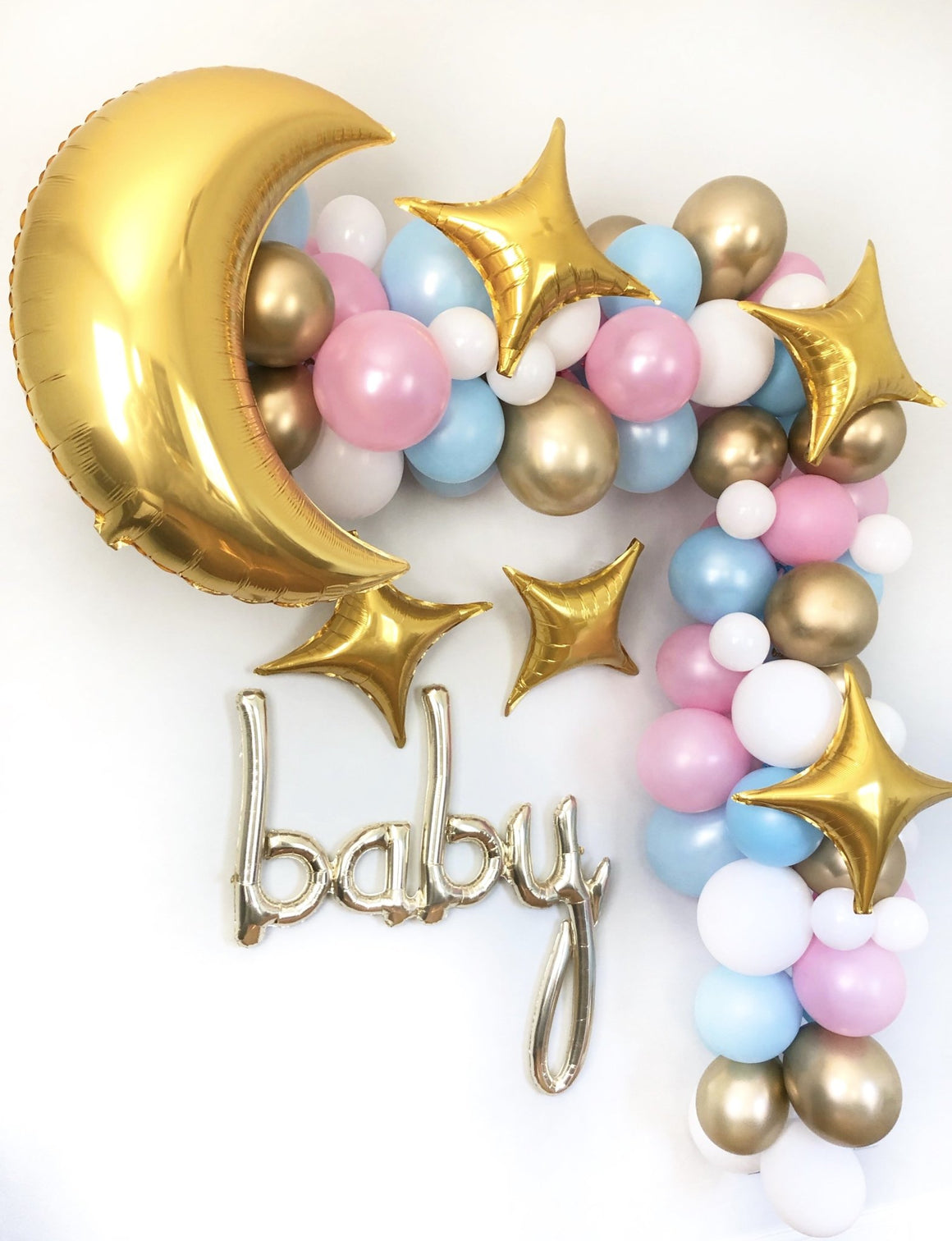 Twinkle Twinkle Little Star Balloon Garland Kit - Pink, Blue, Gold - Pretty Collected