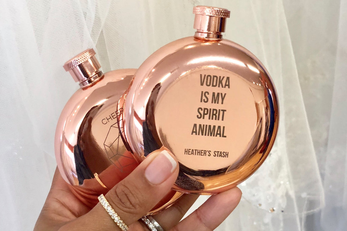 Vodka is My Spirit Animal - Rose Gold Flask - Pretty Collected