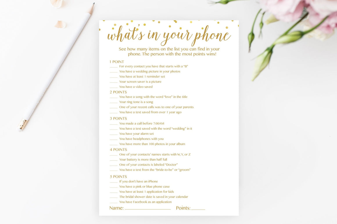 What's In Your Phone - Gold Confetti Printable - Pretty Collected