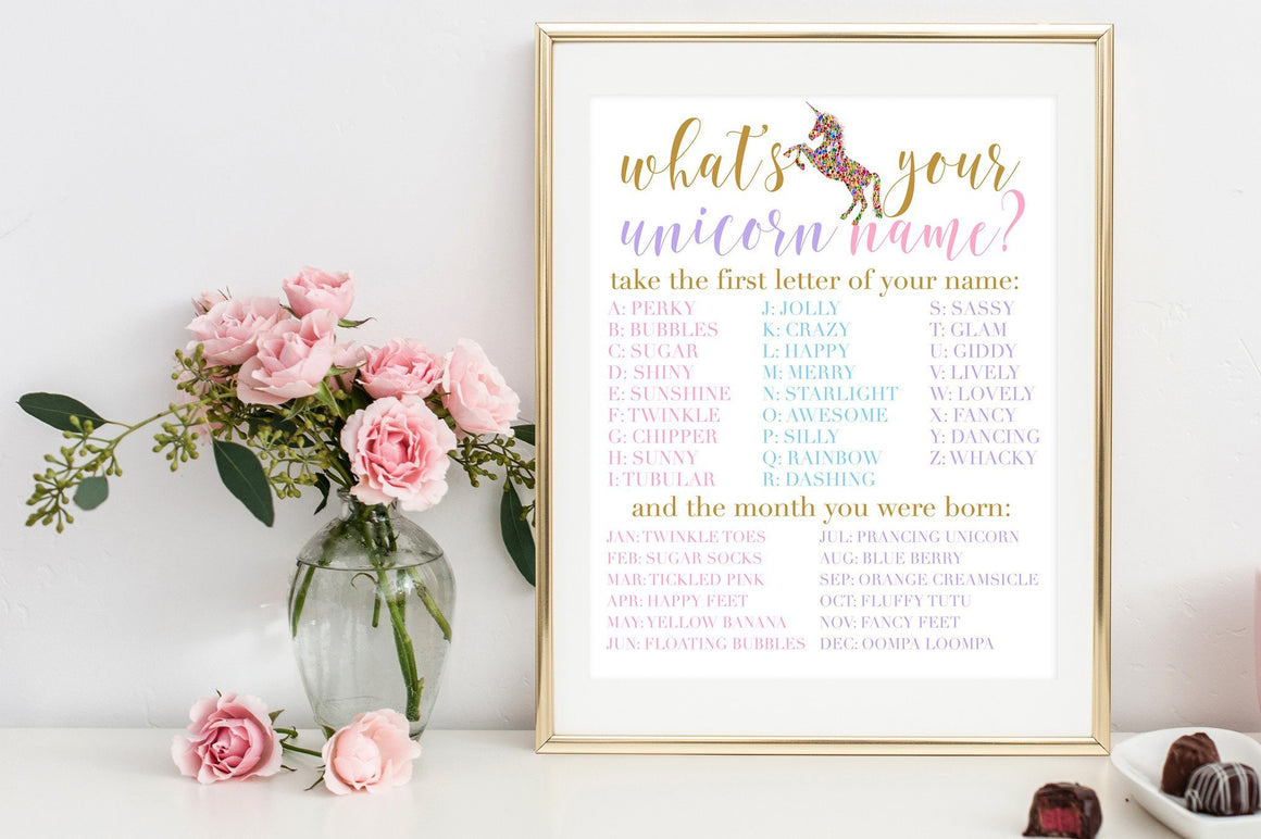 What's Your Unicorn Name Sign - Unicorn Printable - Pretty Collected