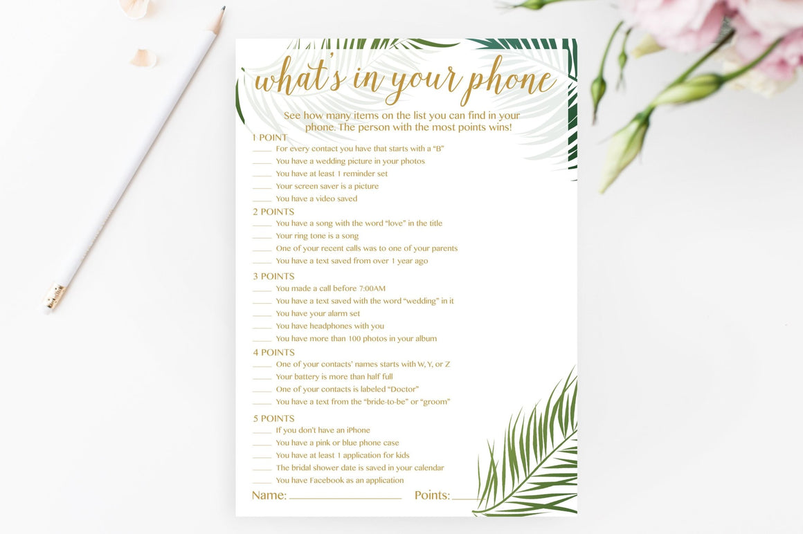 What's In Your Phone - Tropical Printable - Pretty Collected