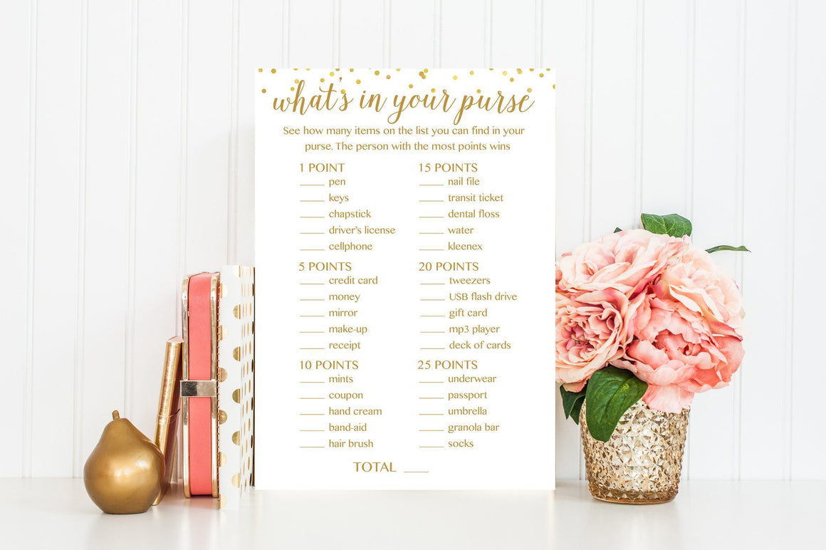 What's In Your Purse - Gold Confetti Printable - Pretty Collected