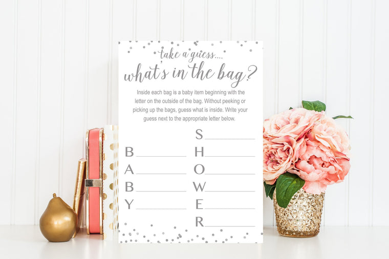 What's In The Bag - Grey Confetti Printable - Pretty Collected