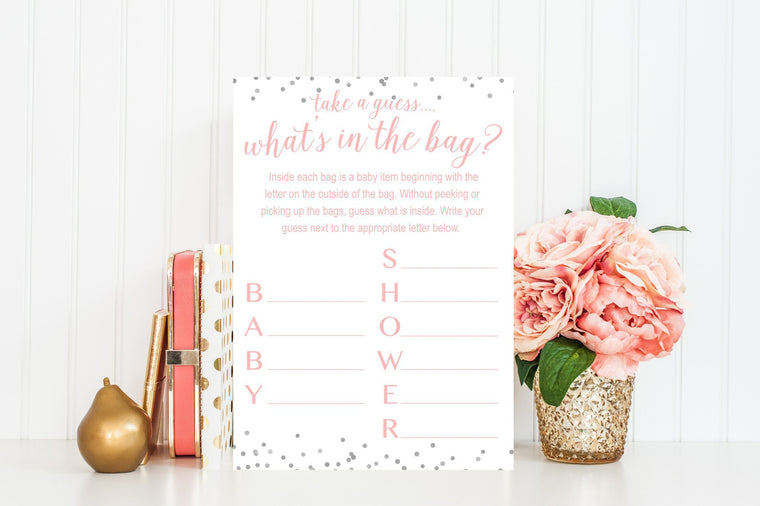 What's In The Bag - Pink & Grey Confetti Printable - Pretty Collected