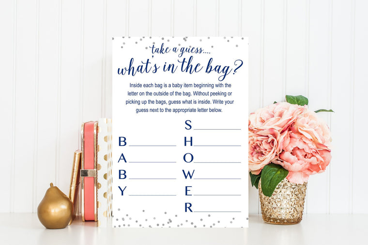 What's In The Bag - Navy & Grey Confetti Printable - Pretty Collected