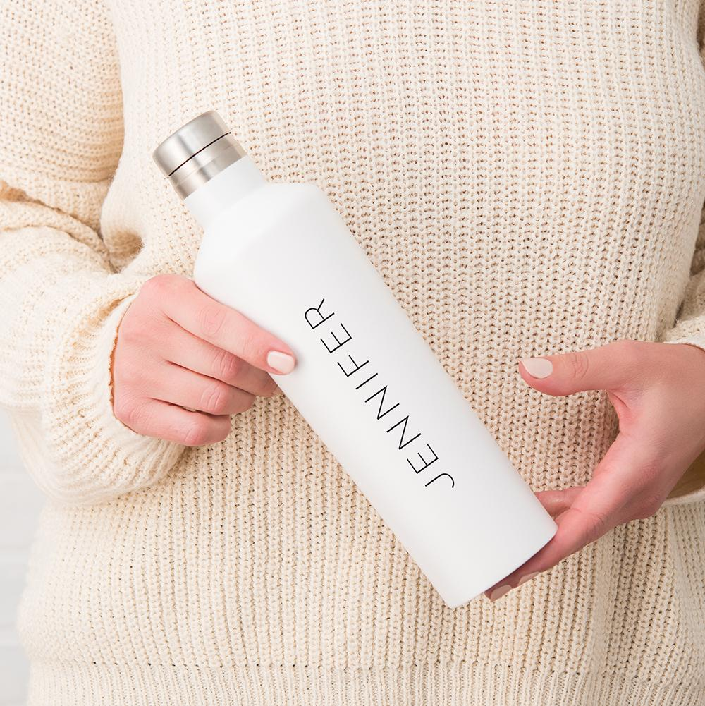 Personalized Stainless Steel Water Bottle - White - Pretty Collected
