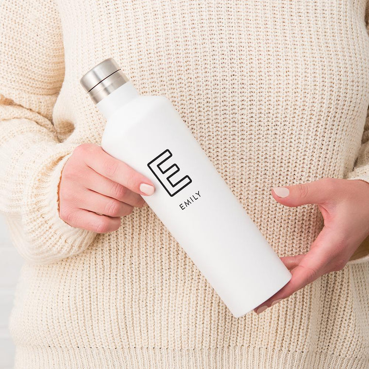 Personalized Name & Initial Stainless Steel Water Bottle - White - Pretty Collected