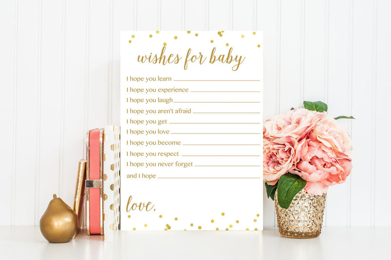 Wishes for Baby - Gold Confetti Printable - Pretty Collected