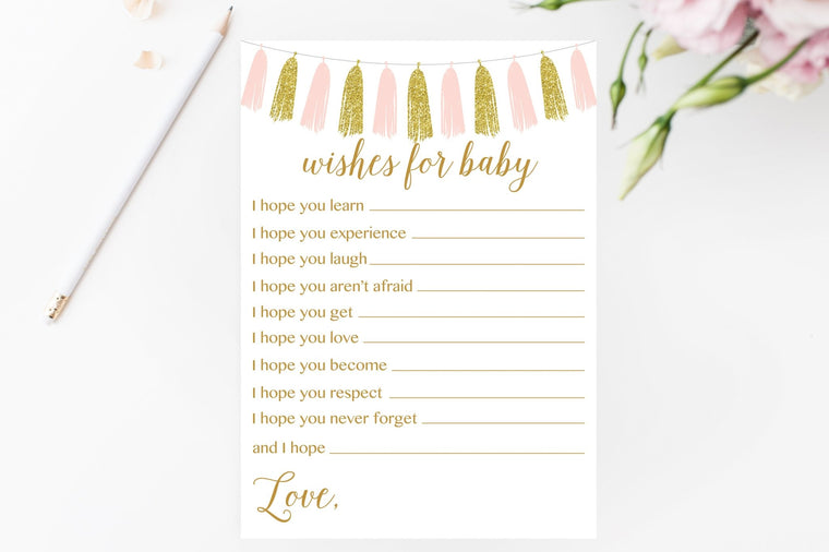 Wishes for Baby - Pink & Gold Tassel Printable - Pretty Collected