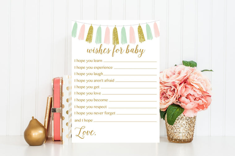 Wishes for Baby - Pink, Mint & Gold Tassel Printable - Pretty Collected