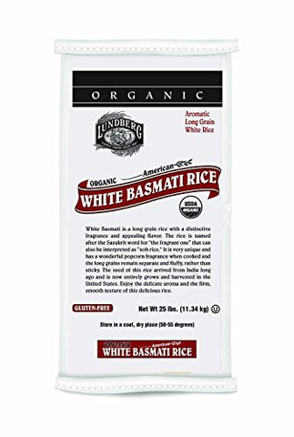 Lundberg Organic California White Basmati Rice, 25-Pound