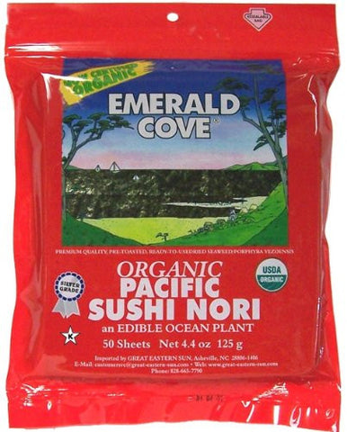 Emerald Cove Organic Toasted Pacific Sushi Nori - 50 Sheets