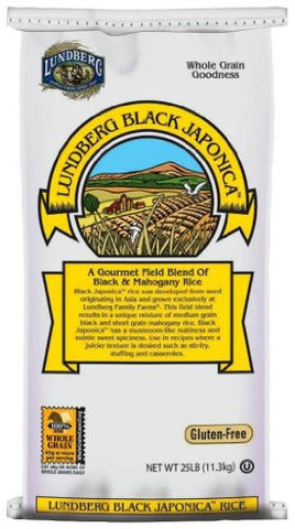 Lundberg Organic Black Japonica Whole Grain Rice, 25-Pound
