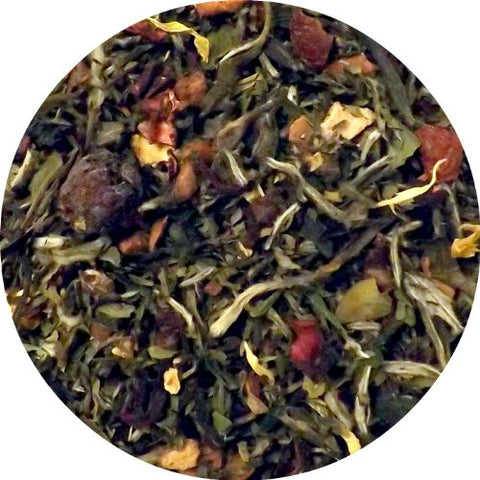 Oregon Summer (White Tea with Peaches, Blueberries, Mint) Tea, Organic & Fair-Trade