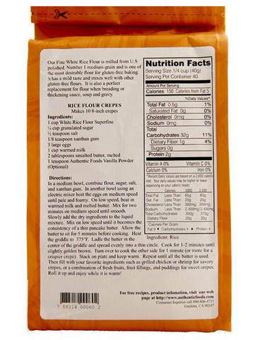 Authentic Foods White Rice Flour, Superfine - 3lb
