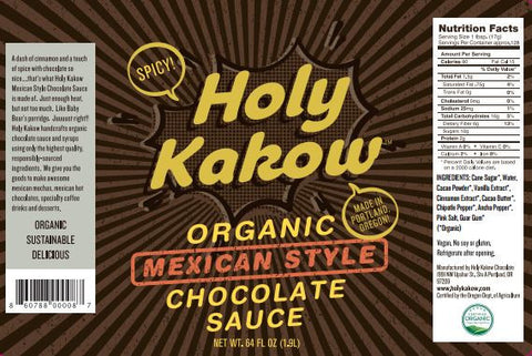 Holy Kakow Organic Mexican Chocolate Sauce - 2 Liter