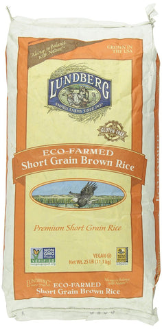 Lundberg Eco-Farmed Short Grain Brown Rice, 25 lb