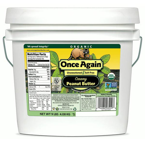 Once Again Organic Creamy Peanut Butter, Unsalted - 9 lbs