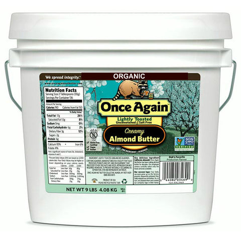 Once Again Organic Unroasted Almond Butter, Smooth - 9 lb
