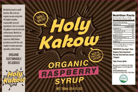 Holy Kakow Cafe Organic Raspberry Syrup - 750ml