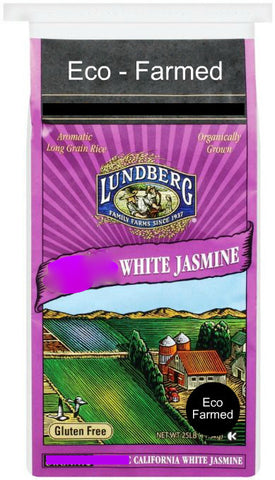 Lundberg Eco-Farmed Jasmine White Rice, 25 lb