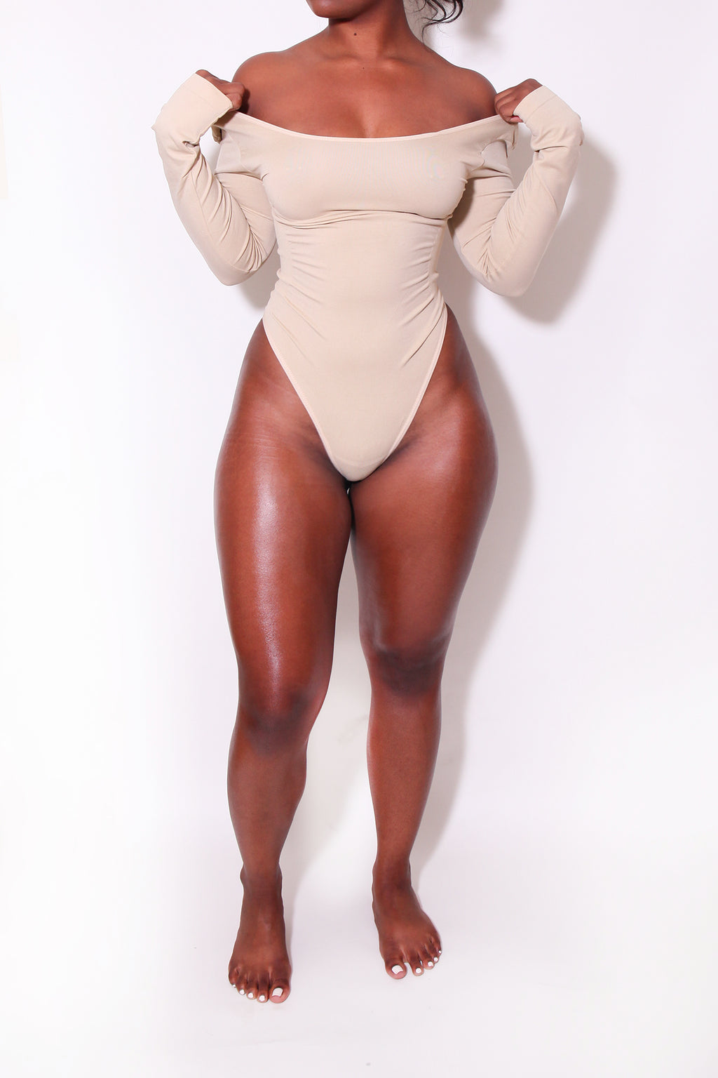 LONG SLEEVE NUDE Body By Babes Bodysuit (Fits up to PLUS) - Babes And Felines | Specializing in Fashionable Staple Pieces for Every Shape and Size