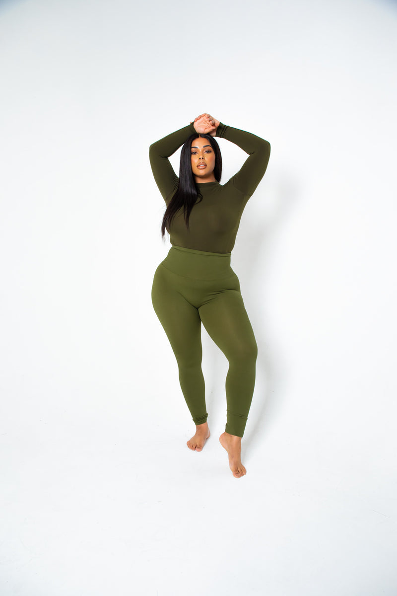 The Olive Yoga Tummy Control Legging fits up to PLUS! (choose your size)