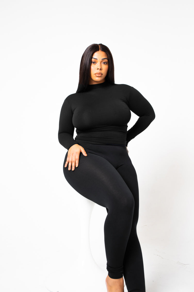 The Black Yoga Tummy Control Legging fits up to PLUS! (choose your size)