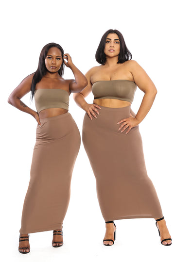 Chestnut Maxi Skirt/Tube Dress (fits up to plus) - Babes And Felines | Specializing in Fashionable Staple Pieces for Every Shape and Size