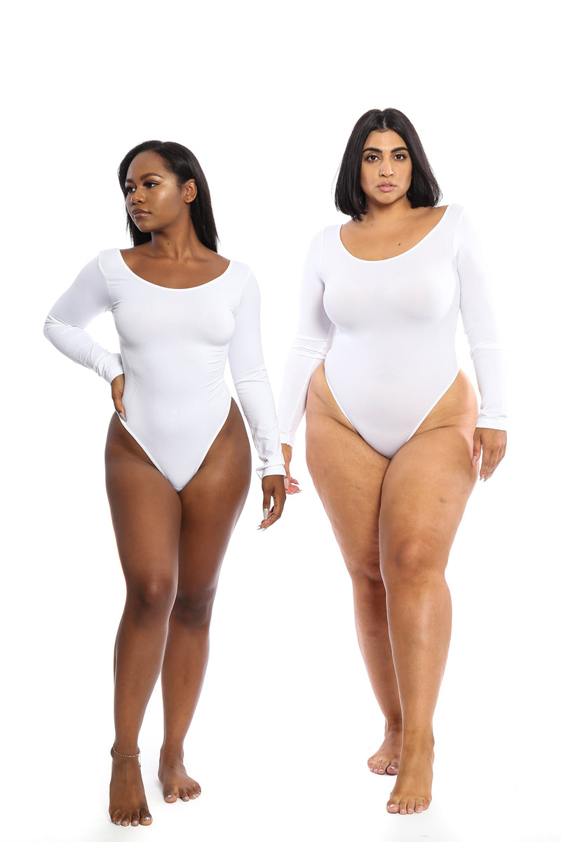 LONG SLEEVE White Body By Babes Bodysuit (Fits up to PLUS) - Babes And Felines | Specializing in Fashionable Staple Pieces for Every Shape and Size
