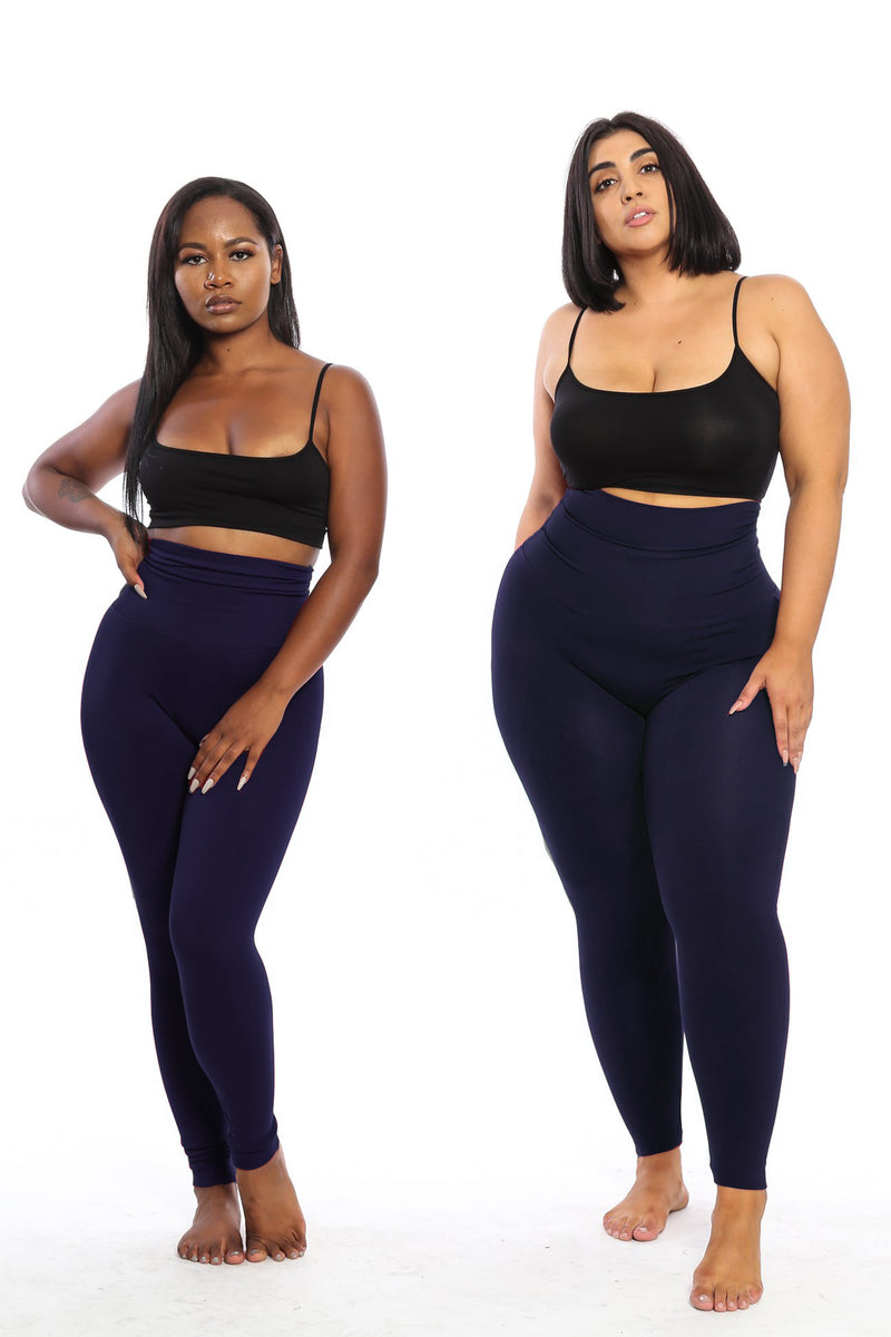 The Navy Yoga Tummy Control Legging fits up to PLUS! (Choose Your Size!) - Babes And Felines | Specializing in Fashionable Staple Pieces for Every Shape and Size