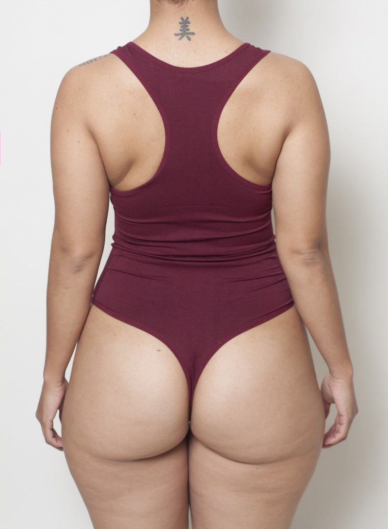 Burgundy Body By Babes Thong Bodysuit w/ Tummy Control fits up to plus - Babes And Felines | Specializing in Fashionable Staple Pieces for Every Shape and Size (9976732170)