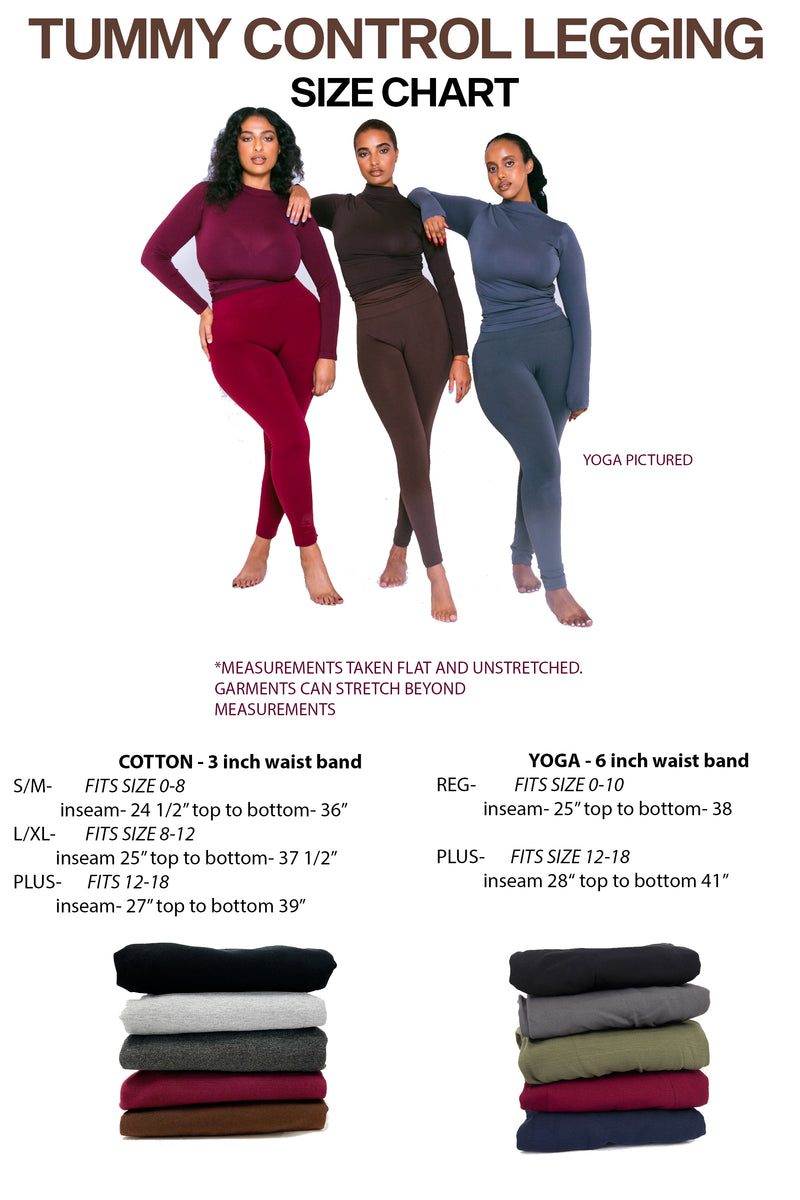 3 Pack-5 Pack Cotton Tummy Control Legging
